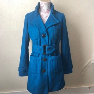 Forever 21 Wool Trench Coat M Teal Blue